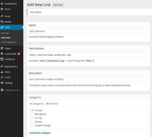 adding a new link wordpress
