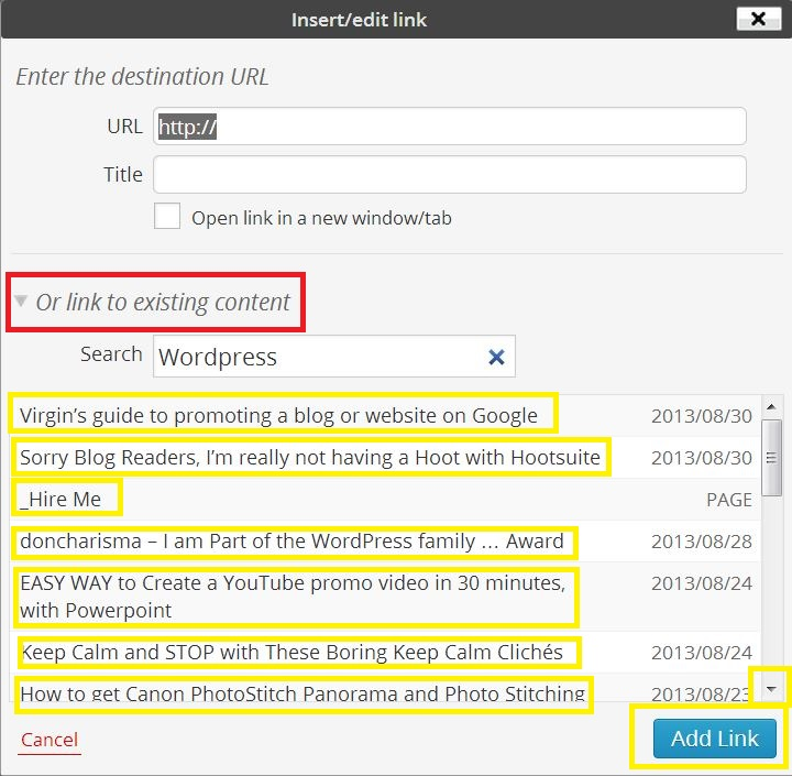 In WordPress Editor, How to link new posts to old posts (2)