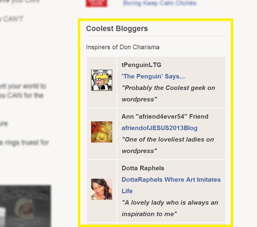 DonCharisma.com Coolest Bloggers Widget