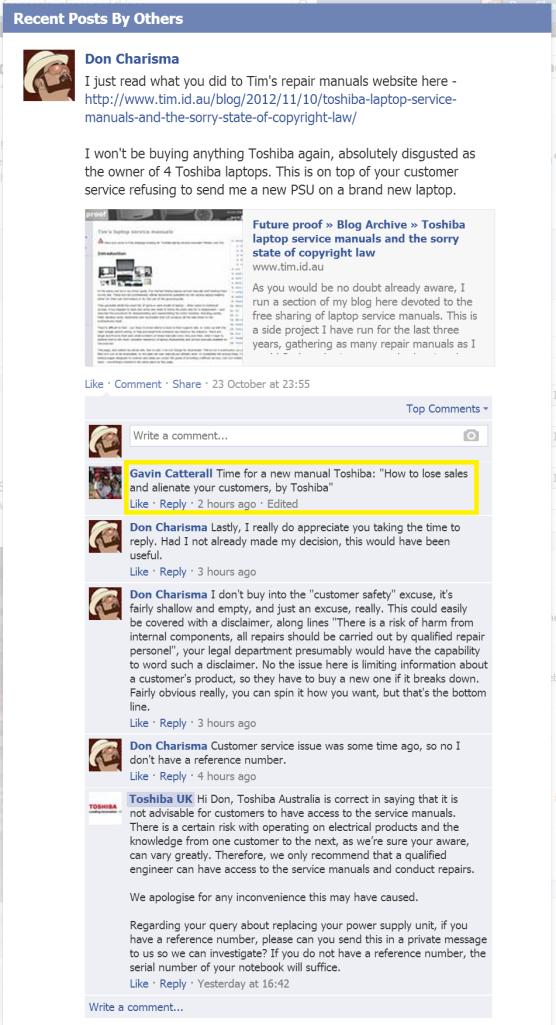 DonCharisma.org, DON CHARISMA, Facebook Conversation Toshiba UK