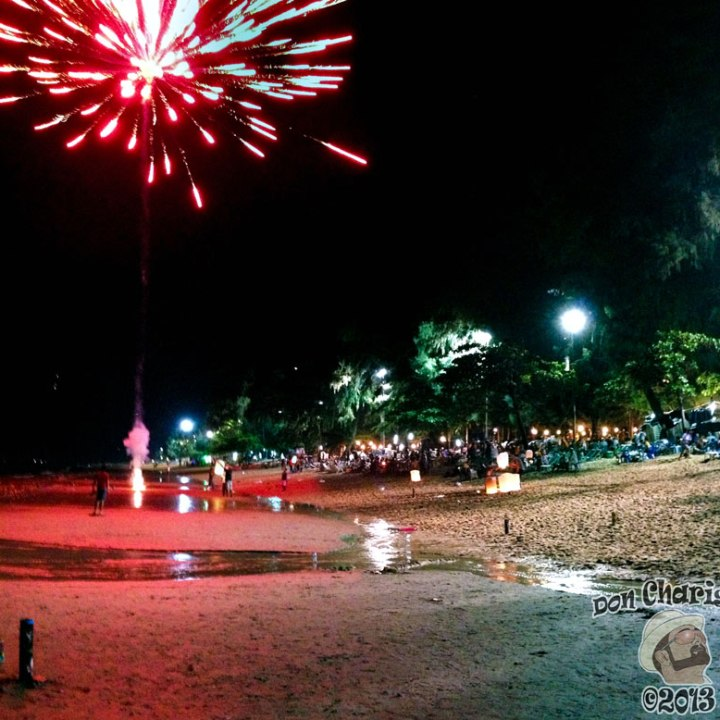 DonCharisma.org Night Beach Scene FIREWORKS Loy Catong Festival