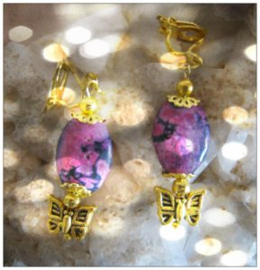 IreneDesign2011 Beautiful Gold Clip-On Earrings with Rhodocrosite & Butterfly