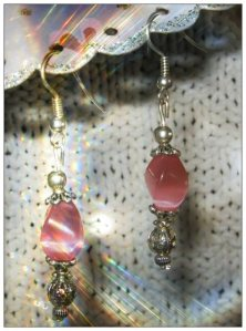 IreneDesign2011 Beautiful Silver Hook Earrings with Pink Cateye