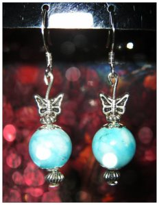 IreneDesign2011 Nice Silver Earrings with Amazonite & Butterfly