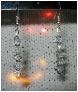 IreneDesign2011 Silver Hook Earrings with Rock Crystal