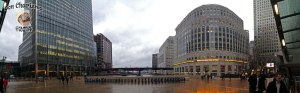 DonCharisma.org Rainy View From Canary Wharf Underground Station iPhone Pano