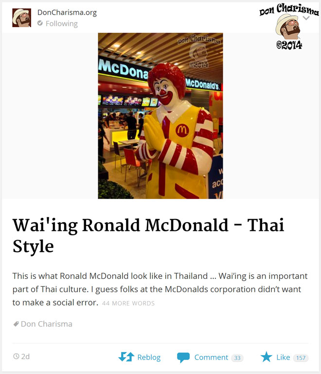 DonCharisma.org-Thai-Ronald-McDonald-In-The-Reader