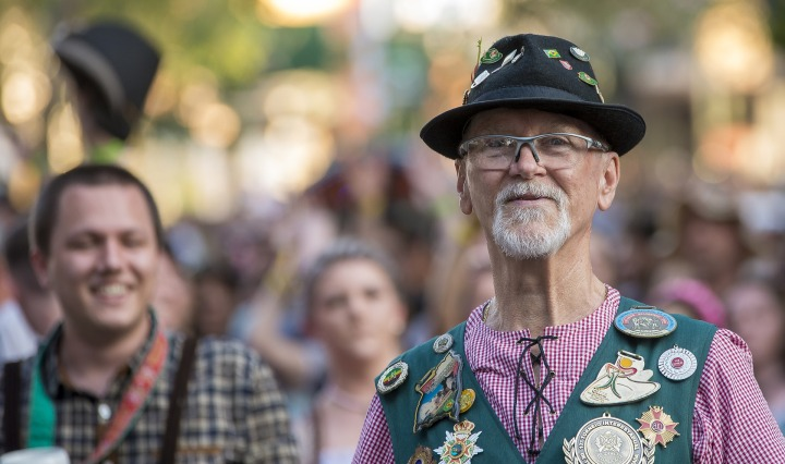 German Man - oktoberfest,man,senior,decoration,tradition,blumenau,pomerode,german,immigration,history,celebration,festival,costume,clothing,customs,lederhosen,beard,shallow depth of field,people,street,parade,portrait