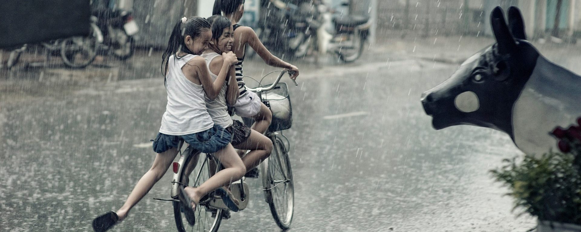 children,happy,playing,riding,bicycle,rain,plants,pot,street,kids,girls,smile,statue,DON CHARISMA