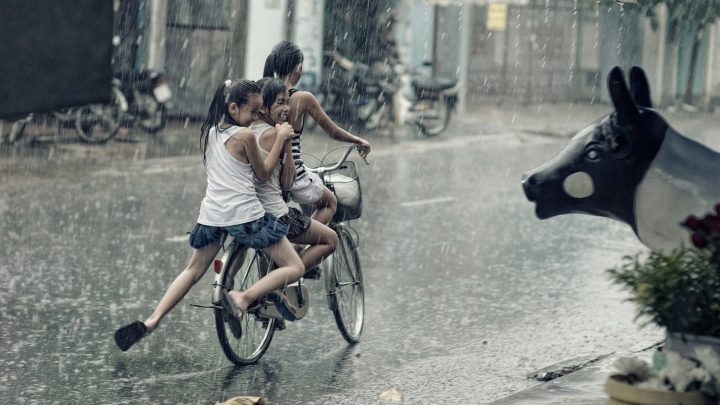 Positive, Positivity, Motivate, Motivation,children,happy,playing,riding,bicycle,rain,plants,pot,street,kids,girls,smile,statue,DON CHARISMA