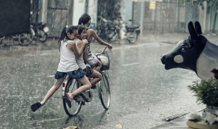 children,happy,playing,riding,bicycle,rain,plants,pot,street,kids,girls,smile,statue,DON CHARISMA