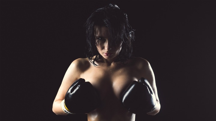 female body,boxing gloves,boxing,sports,breast,hair,erotic,person,beautiful,woman,model,posing,sexy,elegance,beauty,nude,girl,naked girl,fight,aggressive, DON CHARISMA