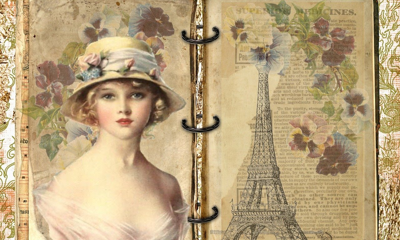 paris,french,vintage,old,lady,flower,hat,edwardian,paper,book,ring binder,tourism,paris france,eiffel tower,building,architecture,france,view,attraction,tourist,parisian,historic, DONCHARISMA