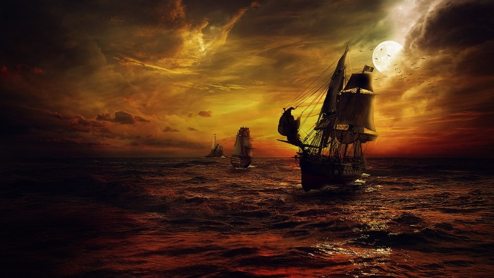 ship,strom,sea,night,DON CHARISMAfantasy,red,pirates,moon,cloud,manipulation