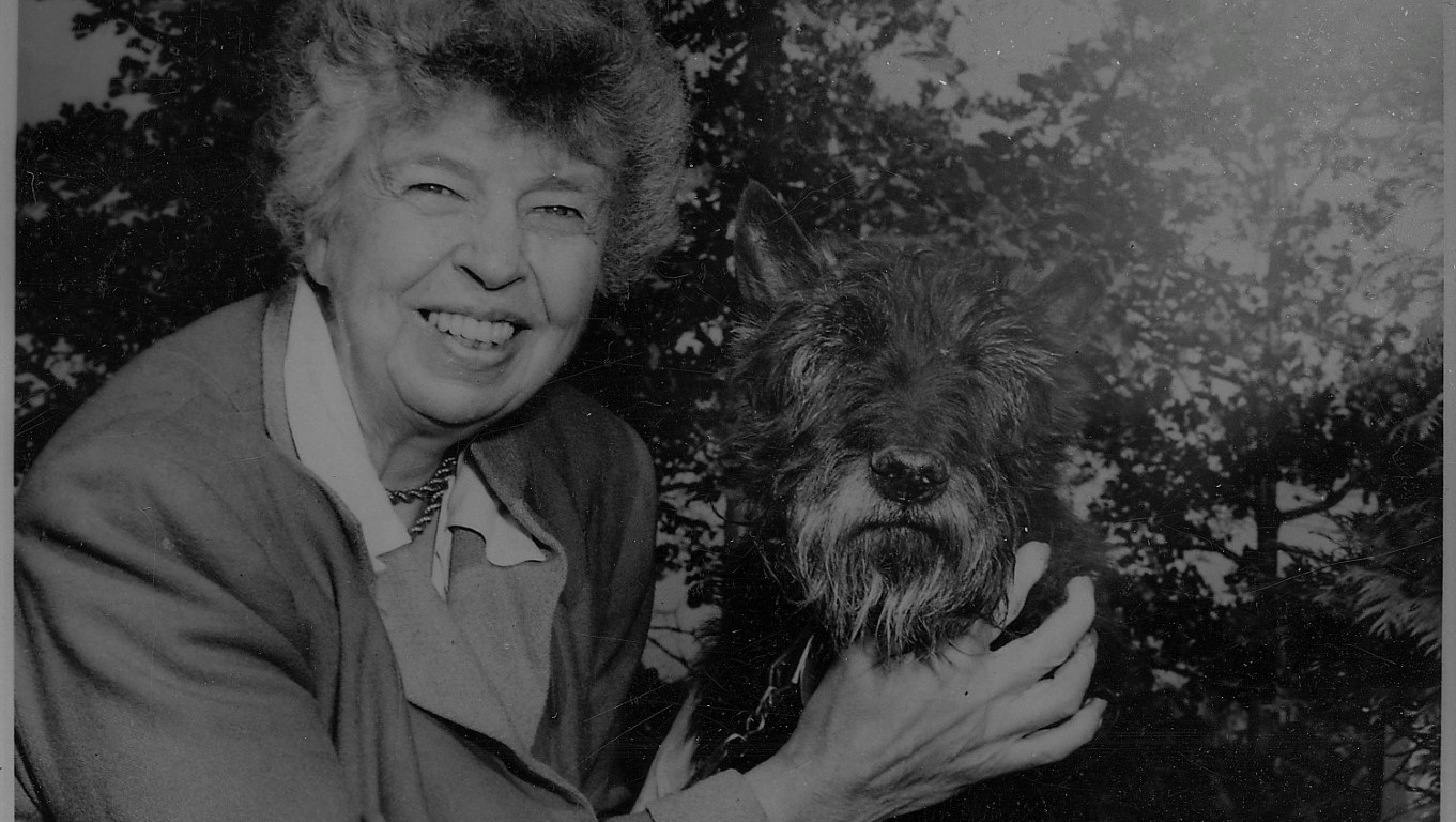 Eleanor Roosevelt and Fala at Val,Kill in Hyde Park, New York, DON CHARISMA