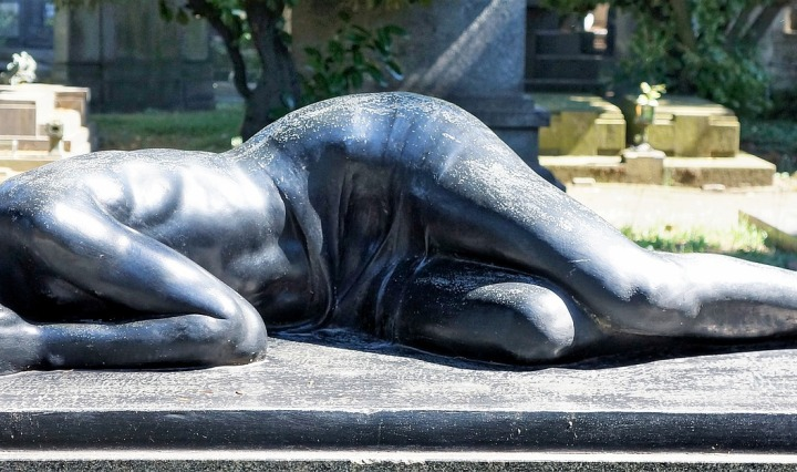 grief,loss,missing,reclining,lady,grieving,despair,death,cemetery,grave,milan,italy, DON CHARISMA