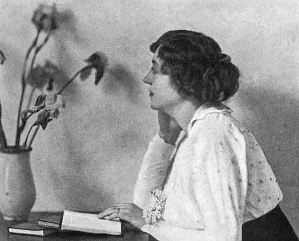 """Marthe Troly-Curtin, pen name Phrynette, columnist for The Sketch magazine, who wrote to sodiers in the magazine during the First World War. The Sketch reports on her as follows, 'The stress and sorrow of war have proved that """"Phrynette"""" can be deeply sympathetic as well as airily frivolous, and it is this gift of laughter and of tears which has won for her such favour in the pages of """"The Sketch.""""' Date: 1915 DON CHARISMA"""