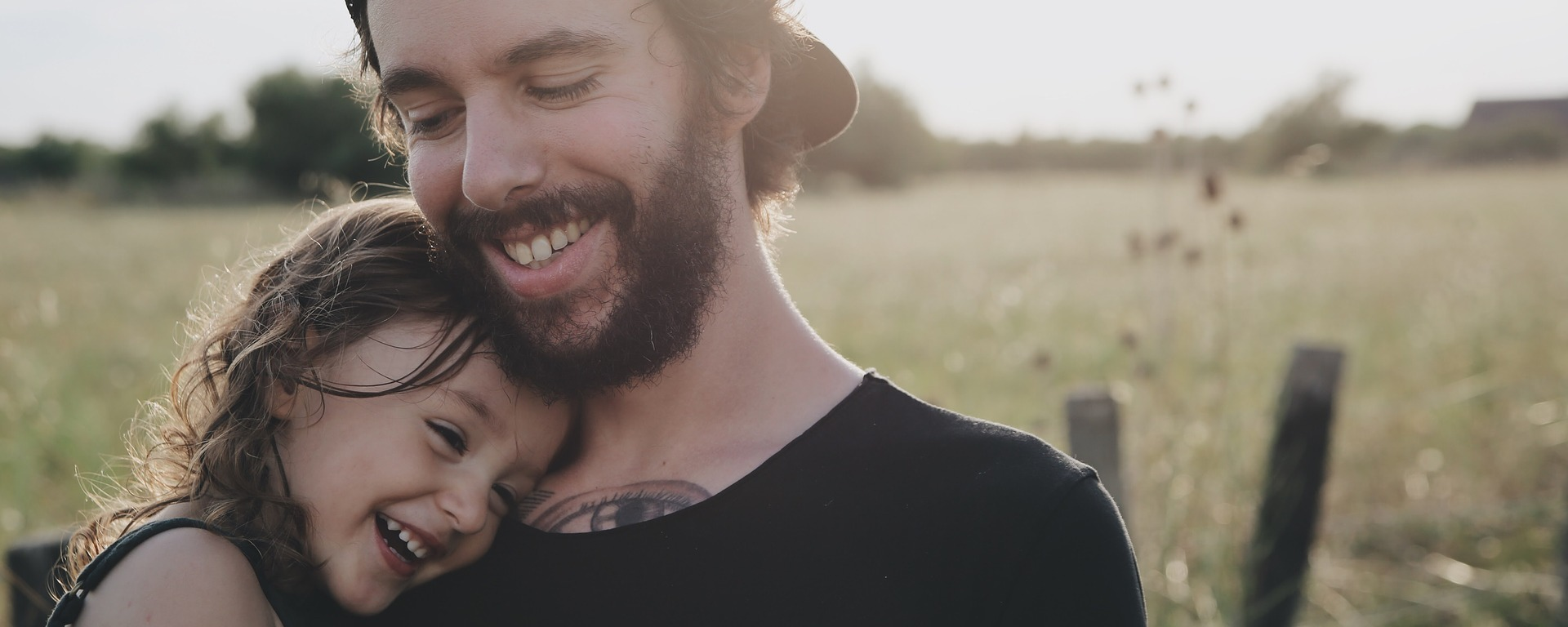 people,father,daughter,smile,happy,hug,carry,love,field,beard,cap,child,outdoors,countryside,happiness,DON CHARISMA