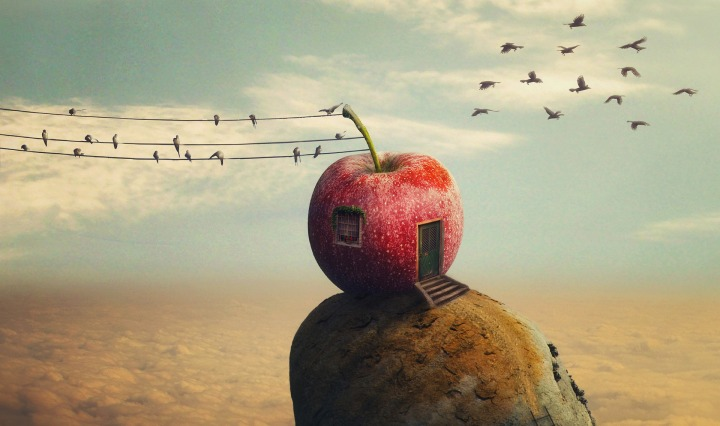 photoshop,manipulation,collage,apple,fantasy,sky,assembly,imagination,birds,island, DON CHARISMA